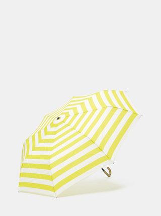 Krémovo-zelený pruhovaný deštník Rainy Seasons