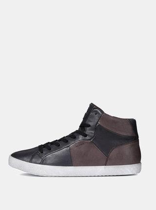 Pantofi sport inalti barbatesti maro-negru din piele cu fermoar Geox Smart A