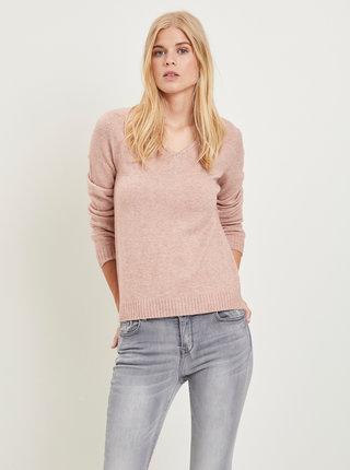 Růžový žíhaný basic svetr VILA Viril