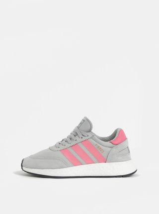 Pantofi sport roz-gri de dama cu detalii din piele intoarsa adidas Originals Iniki Runner