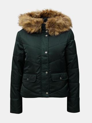 Tmavě zelená zimní prošívaná bunda s umělým kožíškem Noisy May