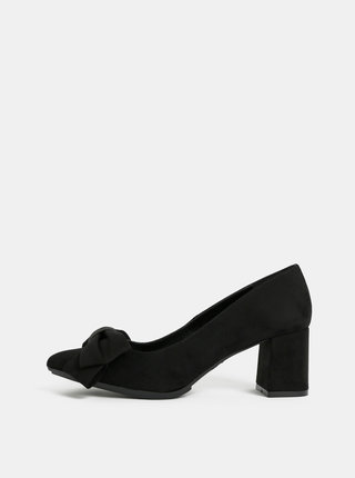 Pantofi negri cu aspect de piele intoarsa si funda OJJU