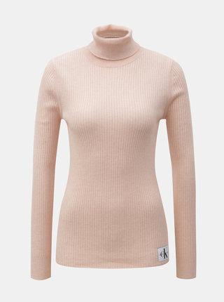 Růžový dámský svetr s rolákem a nášivkou a příměsí vlny Calvin Klein Jeans