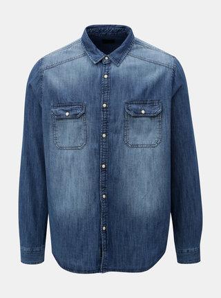 Camasa albastra din denim cu aspect prespalat Burton Menswear London Western