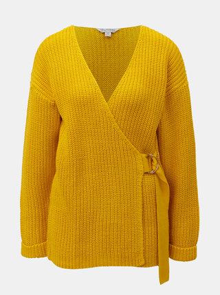 Žlutý svetr s překládaným předním dílem Miss Selfridge