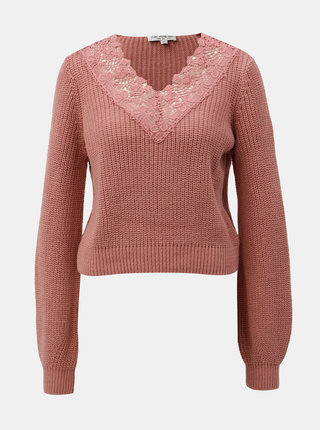 Růžový krátký svetr s krajkou Miss Selfridge