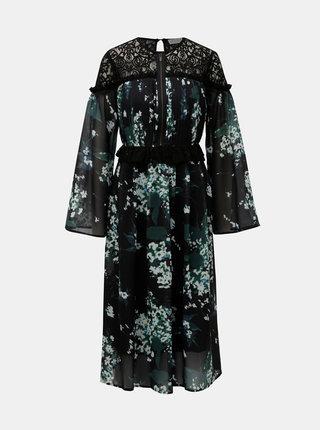 Rochie midi neagra cu model floral si dantela ELVI
