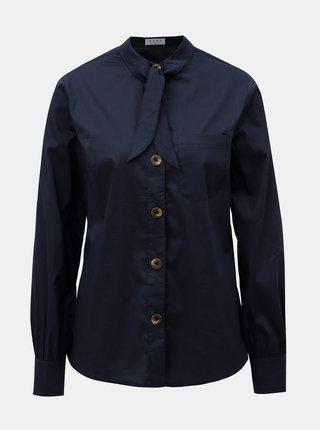 Tmavě modrá košile s vázáním u krku ELVI