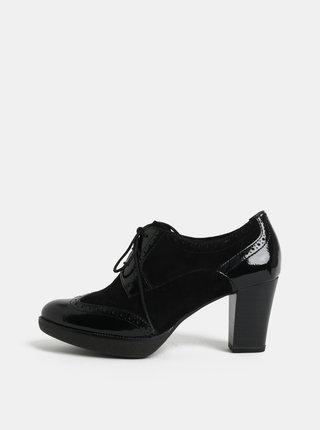 Pantofi negri din piele intoarsa cu toc Tamaris