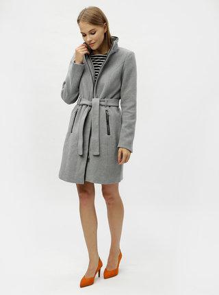 Sivý kabát s prímesou vlny VERO MODA Bessy