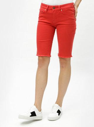 Červené dámske rifľové skinny kraťasy Tommy Hilfiger Venice