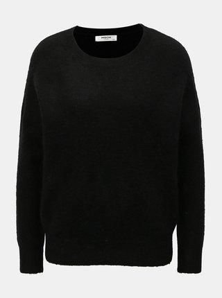 Čierny vlnený voľný sveter Moss Copenhagen
