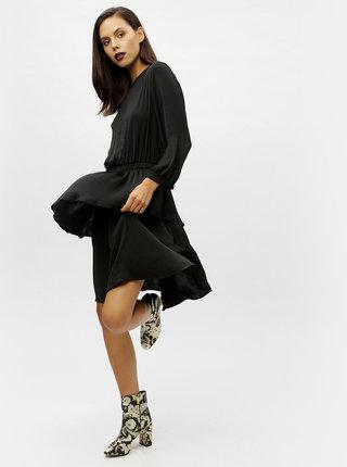 Čierne tenké šaty s dlhým rukávom Moss Copenhagen Jessi