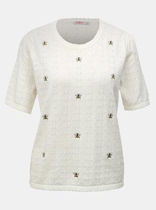 Krémový dámsky tenký sveter s krátkym rukávom a výšivkami Cath Kidston
