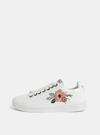 Biele dámske tenisky s výšivkou Pepe Jeans Brompton flower