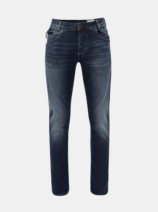 Blugi barbatesti albastri tapered fit din denim cu aspect prespalat Garcia Jeans