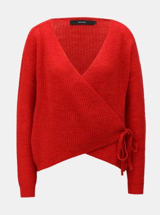 Červený vlněný zavinovací svetr VERO MODA