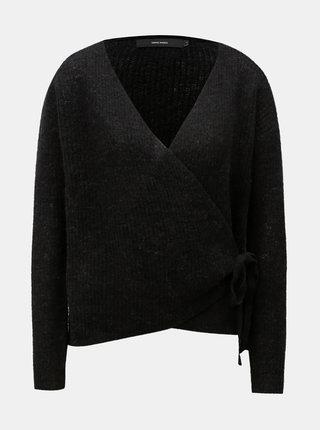 Čierny vlnený zavinovací sveter VERO MODA