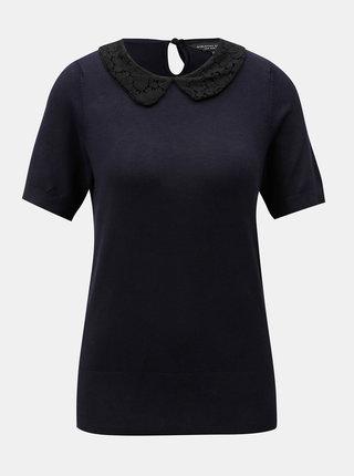 Tmavě modré tričko s krajkovým límečkem Dorothy Perkins