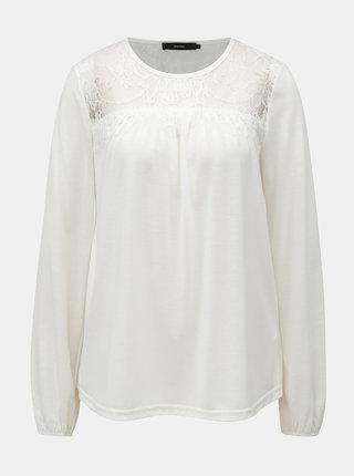 Biele tričko s čipkovaným sedlom VERO MODA