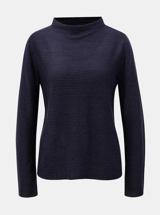 Tmavě modrý žebrovaný svetr se stojáčkem Jacqueline de Yong