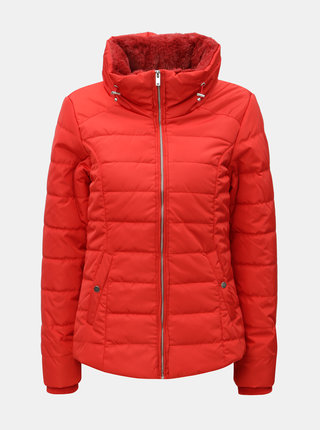 Červená krátká zimní bunda s umělým kožíškem Dorothy Perkins