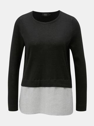 Čierny tenký sveter so všitou blúzkovou časťou ONLY New