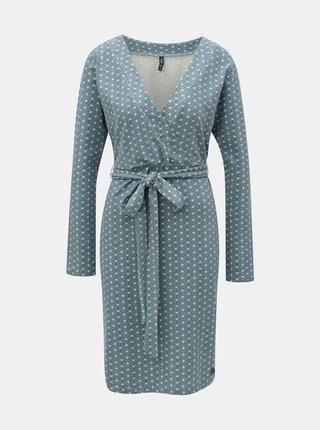 Krémovo-modré vzorované šaty Tranquillo Merle