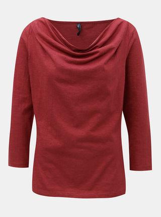 Červené tričko s riasením vo výstrihu Tranquillo Bellona