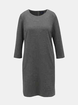 Tmavosivé vzorované rovné šaty s 3/4 rukávom GANT
