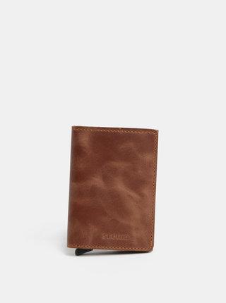 Hnědá kožená peněženka s hliníkovým pouzdrem s RFID Secrid Slimwalet