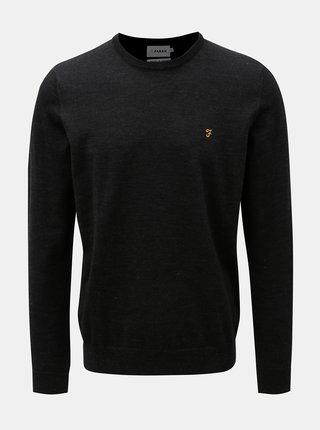 Čierny melírovaný tenký sveter z Merino vlny Farah Mullen