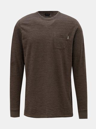 Hnedé tričko s dlhým rukávom Jack & Jones Larry