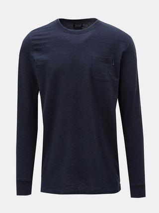 Tmavomodré tričko s dlhým rukávom Jack & Jones Larry