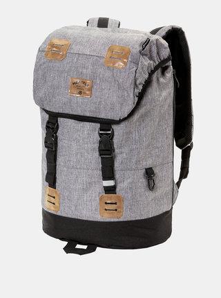 Sivý melírovaný batoh s koženkovými detailmi a pláštenkou Meatfly 26 l