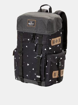Čierny vzorovaný batoh s koženkovými detailmi Meatfly 30 l