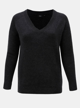 Tmavě šedý basic svetr s příměsí vlny Zizzi Camilla