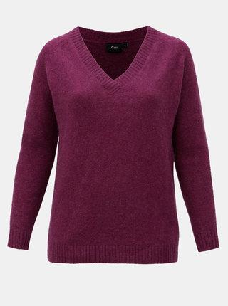 Fialový basic svetr s příměsí vlny Zizzi Camilla