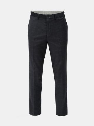 Pantaloni skinny fit albastru inchis in carouri cu amestec de lana Burton Menswear London