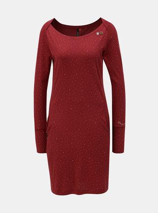 Vínové vzorované šaty s vreckami Ragwear River