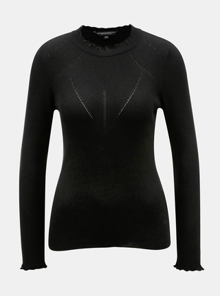 Čierny rebrovaný sveter s výstrihom ku krku Dorothy Perkins