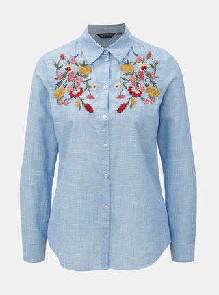 Světle modrá košile s výšivkou květin Dorothy Perkins