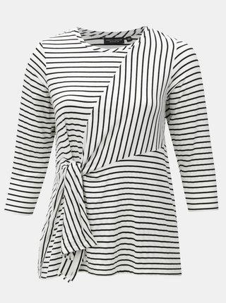 Tricou negru-alb in dungi cu cordon in talie Dorothy Perkins Curve