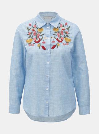 Svetlomodrá košeľa s kvetovanou výšivkou Dorothy Perkins Petite