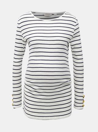 Modro–biele pruhované tehotenské tričko s gombíkmi na rukávoch Dorothy Perkins Maternity