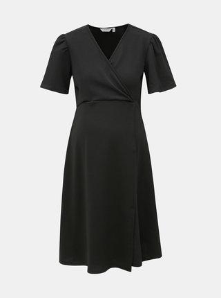 Čierne tehotenské šaty s krátkym rukávom a prekladaným výstrihom Dorothy Perkins Maternity