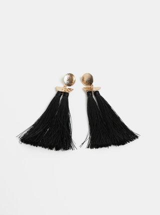 Čierne náušnice so strapcami Pieces Kasia