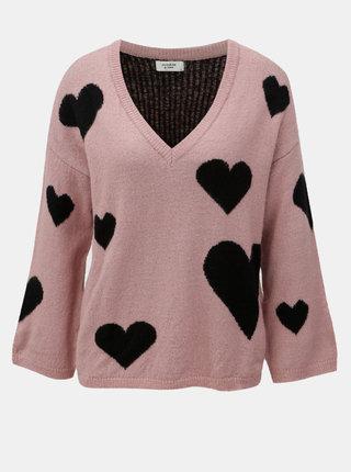 Černo-růžový vzorovaný svetr s véčkovým výstřihem Jacqueline de Yong Melange
