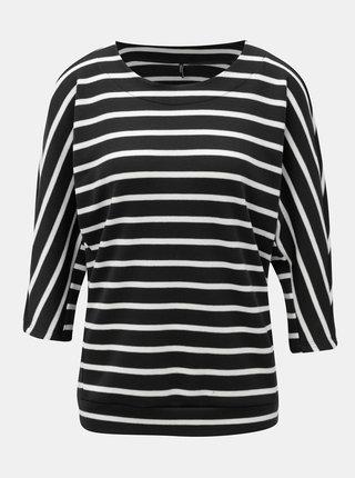 Čierny pruhovaný sveter s netopierími rukávmi ONLY Anna