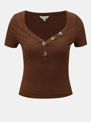 Hnedé krátke tričko s gombíkmi Miss Selfridge